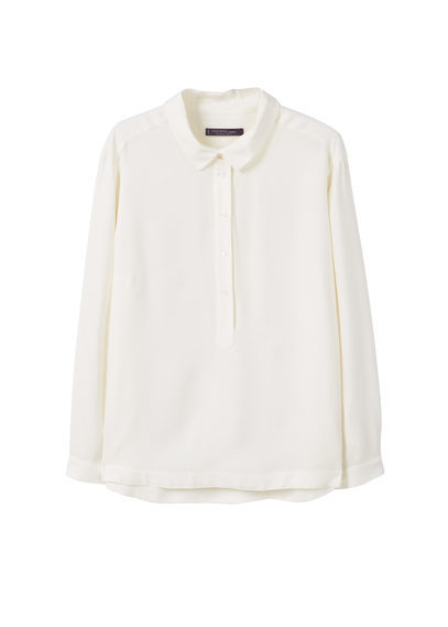 Flowy Textured Blouse - neckline: shirt collar/peter pan/zip with opening; pattern: plain; length: below the bottom; style: shirt; predominant colour: ivory/cream; occasions: casual, work, creative work; fibres: viscose/rayon - 100%; fit: body skimming; sleeve length: long sleeve; sleeve style: standard; pattern type: fabric; texture group: other - light to midweight; season: s/s 2016; wardrobe: basic