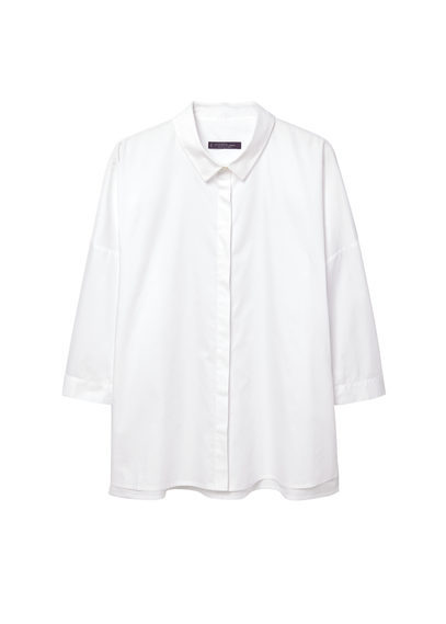 Side Slit Cotton Shirt - neckline: shirt collar/peter pan/zip with opening; pattern: plain; style: shirt; predominant colour: white; occasions: casual, work, creative work; length: standard; fibres: cotton - 100%; fit: body skimming; sleeve length: 3/4 length; sleeve style: standard; texture group: cotton feel fabrics; pattern type: fabric; season: s/s 2016; wardrobe: basic