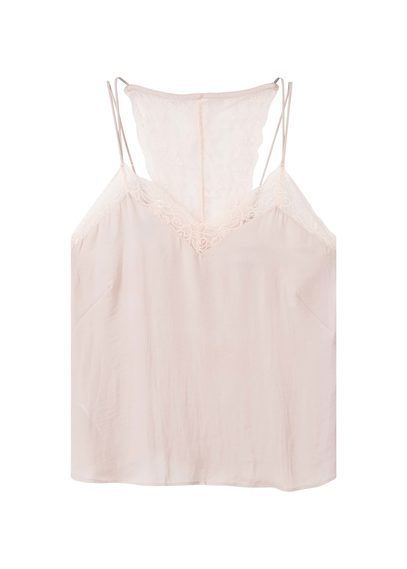 Lace Flowy Top - neckline: low v-neck; sleeve style: spaghetti straps; pattern: plain; style: camisole; predominant colour: blush; occasions: evening; length: standard; fibres: polyester/polyamide - 100%; fit: body skimming; sleeve length: sleeveless; pattern type: fabric; texture group: other - light to midweight; embellishment: lace; season: s/s 2016; wardrobe: event