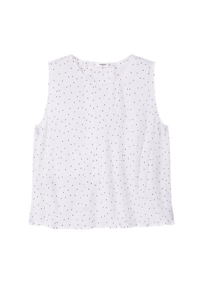 Textured Top - sleeve style: sleeveless; pattern: polka dot; predominant colour: white; secondary colour: black; occasions: casual; length: standard; style: top; fibres: polyester/polyamide - 100%; fit: body skimming; neckline: crew; sleeve length: sleeveless; pattern type: fabric; texture group: other - light to midweight; multicoloured: multicoloured; season: s/s 2016