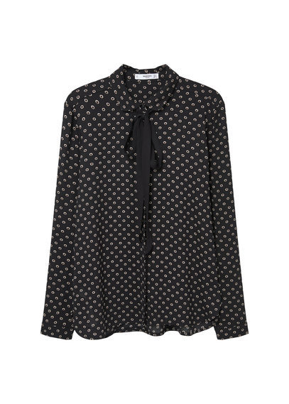 Bow Neck Shirt - style: shirt; neckline: pussy bow; pattern: polka dot; secondary colour: ivory/cream; predominant colour: black; occasions: work, creative work; length: standard; fibres: polyester/polyamide - 100%; fit: loose; sleeve length: long sleeve; sleeve style: standard; texture group: sheer fabrics/chiffon/organza etc.; pattern type: fabric; pattern size: big & busy (top); season: s/s 2016; wardrobe: highlight