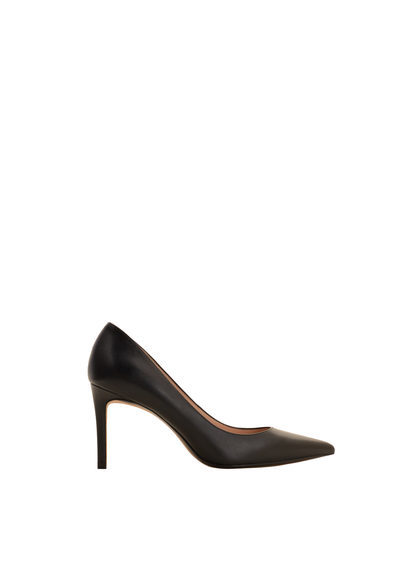 Leather Pumps - predominant colour: black; occasions: work, creative work; material: leather; heel height: high; heel: stiletto; toe: pointed toe; style: courts; finish: plain; pattern: plain; season: s/s 2016; wardrobe: investment