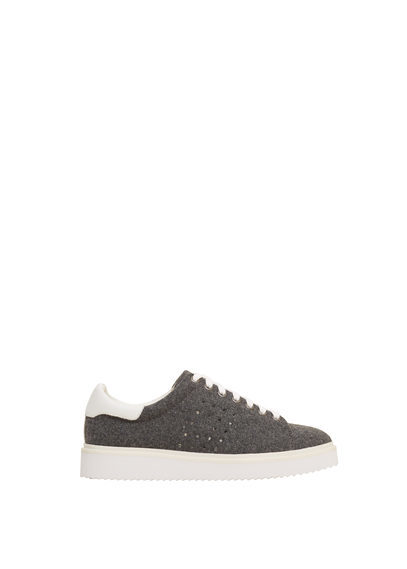 Leather Appliqué Sneakers - predominant colour: khaki; occasions: casual; material: fabric; heel height: flat; toe: round toe; style: trainers; finish: plain; pattern: plain; season: s/s 2016; wardrobe: basic