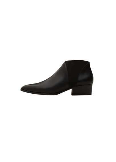 Elastic Panels Ankle Boot - predominant colour: black; occasions: casual, creative work; material: leather; heel height: flat; heel: block; toe: pointed toe; boot length: ankle boot; finish: plain; pattern: plain; style: chelsea; season: s/s 2016; wardrobe: basic