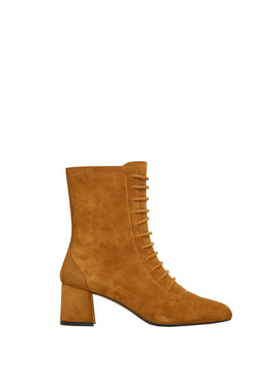 Lace Up Leather Boots - predominant colour: tan; occasions: casual, creative work; material: suede; heel height: mid; heel: block; toe: round toe; boot length: ankle boot; finish: plain; pattern: plain; style: lace ups; season: s/s 2016; wardrobe: highlight