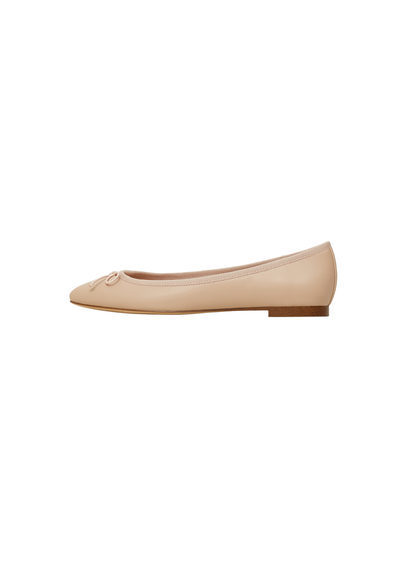 Bow Ballerinas - predominant colour: nude; occasions: casual; material: faux leather; heel height: flat; toe: round toe; style: ballerinas / pumps; finish: plain; pattern: plain; season: s/s 2016; wardrobe: basic