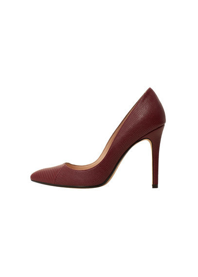 Snake Finish Pumps - predominant colour: burgundy; occasions: evening; material: leather; heel height: high; heel: stiletto; toe: pointed toe; style: courts; finish: plain; pattern: plain; season: s/s 2016