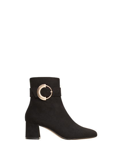 Decorative Buckle Boots - predominant colour: black; occasions: casual; material: faux leather; heel height: mid; heel: block; toe: pointed toe; boot length: ankle boot; style: standard; finish: plain; pattern: plain; season: s/s 2016; wardrobe: basic