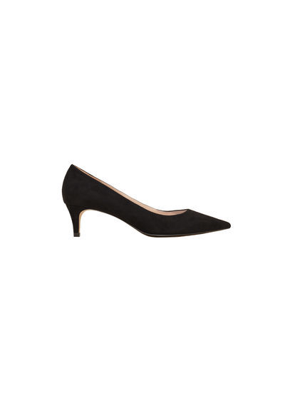 Kitten Heel Shoes - predominant colour: black; occasions: evening; material: faux leather; heel height: mid; heel: kitten; toe: pointed toe; style: courts; finish: plain; pattern: plain; season: s/s 2016
