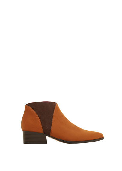 Elastic Panels Ankle Boot - secondary colour: chocolate brown; predominant colour: tan; occasions: casual; material: faux leather; heel height: mid; heel: block; toe: round toe; boot length: ankle boot; style: standard; finish: plain; pattern: colourblock; multicoloured: multicoloured; season: s/s 2016; wardrobe: highlight