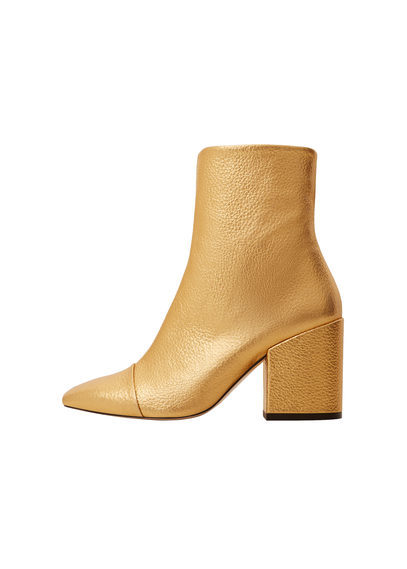 Metallic Leather Ankle Boots - predominant colour: gold; material: leather; heel height: mid; heel: block; toe: pointed toe; boot length: ankle boot; style: standard; finish: metallic; pattern: plain; occasions: creative work; season: s/s 2016