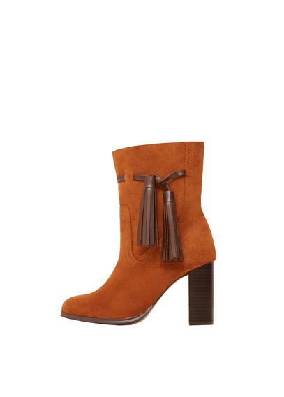 Leather Tassels Boots - predominant colour: tan; occasions: casual, creative work; material: suede; heel height: high; heel: block; toe: round toe; boot length: ankle boot; style: standard; finish: plain; pattern: plain; season: s/s 2016