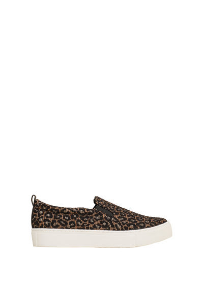 Leopard Print Sneakers - predominant colour: black; occasions: casual; material: fabric; heel height: flat; toe: round toe; finish: plain; pattern: animal print; style: skate shoes; season: s/s 2016; wardrobe: highlight