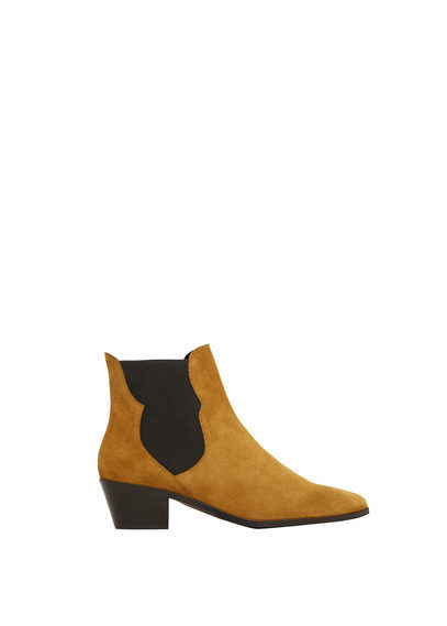 Leather Chelsea Ankle Boots - predominant colour: camel; occasions: casual, creative work; material: suede; heel height: mid; heel: block; toe: pointed toe; boot length: ankle boot; style: standard; finish: plain; pattern: colourblock; season: s/s 2016; wardrobe: highlight
