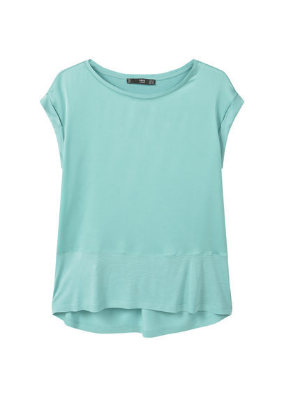 Contrast Panel T Shirt - neckline: round neck; sleeve style: capped; pattern: plain; waist detail: drop waist; style: t-shirt; predominant colour: pistachio; occasions: casual, creative work; length: standard; fibres: viscose/rayon - 100%; fit: straight cut; sleeve length: short sleeve; pattern type: fabric; texture group: jersey - stretchy/drapey; season: s/s 2016; wardrobe: highlight