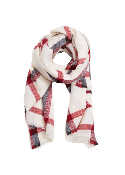 Check Scarf - predominant colour: white; occasions: casual, creative work; type of pattern: light; style: regular; size: standard; material: fabric; pattern: checked/gingham; secondary colour: raspberry; season: s/s 2016; wardrobe: highlight