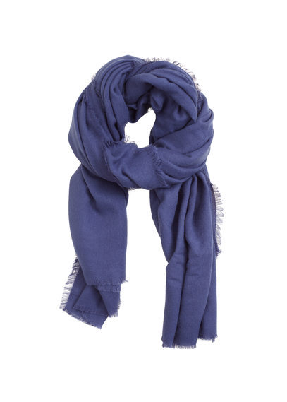 Frayed Edge Scarf - predominant colour: royal blue; occasions: casual, creative work; type of pattern: standard; style: regular; size: standard; material: fabric; pattern: plain; season: s/s 2016; wardrobe: highlight