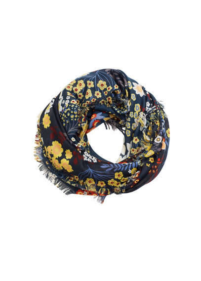 Flower Print Scarf - predominant colour: navy; secondary colour: yellow; occasions: casual, creative work; type of pattern: heavy; style: regular; size: standard; material: fabric; pattern: florals; multicoloured: multicoloured; season: s/s 2016; wardrobe: highlight