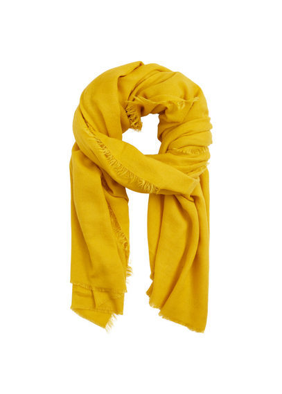 Frayed Edge Scarf - predominant colour: yellow; occasions: casual, creative work; type of pattern: standard; style: regular; size: standard; material: fabric; pattern: plain; season: s/s 2016; wardrobe: highlight