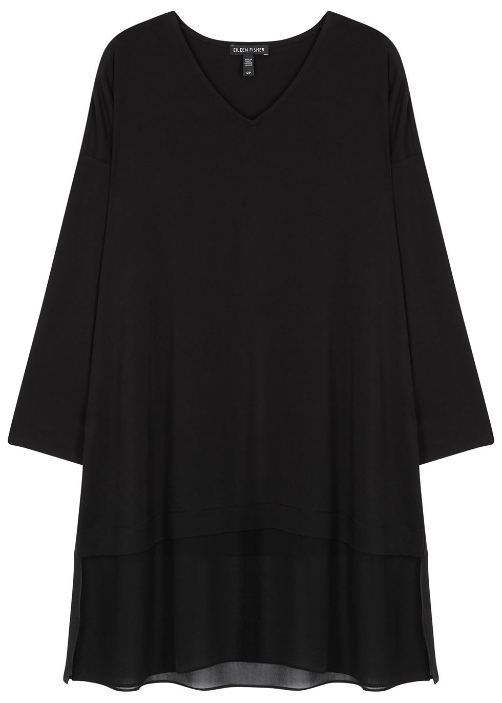 Black Chiffon And Jersey Jumper - neckline: v-neck; pattern: plain; length: below the bottom; style: tunic; predominant colour: black; occasions: casual; fibres: silk - mix; fit: loose; sleeve length: long sleeve; sleeve style: standard; texture group: knits/crochet; pattern type: knitted - fine stitch; season: s/s 2016