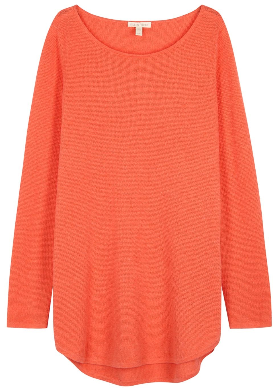 Coral Waffle Knit Cotton Blend Jumper - neckline: round neck; pattern: plain; length: below the bottom; style: standard; predominant colour: coral; occasions: casual; fibres: cotton - mix; fit: loose; sleeve length: long sleeve; sleeve style: standard; texture group: knits/crochet; pattern type: knitted - fine stitch; season: s/s 2016; wardrobe: highlight