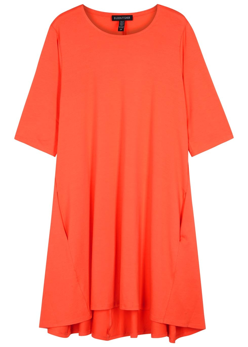 Coral Jersey Top - neckline: round neck; pattern: plain; length: below the bottom; predominant colour: coral; occasions: casual; style: top; fibres: viscose/rayon - stretch; fit: loose; sleeve length: half sleeve; sleeve style: standard; pattern type: fabric; texture group: jersey - stretchy/drapey; season: s/s 2016