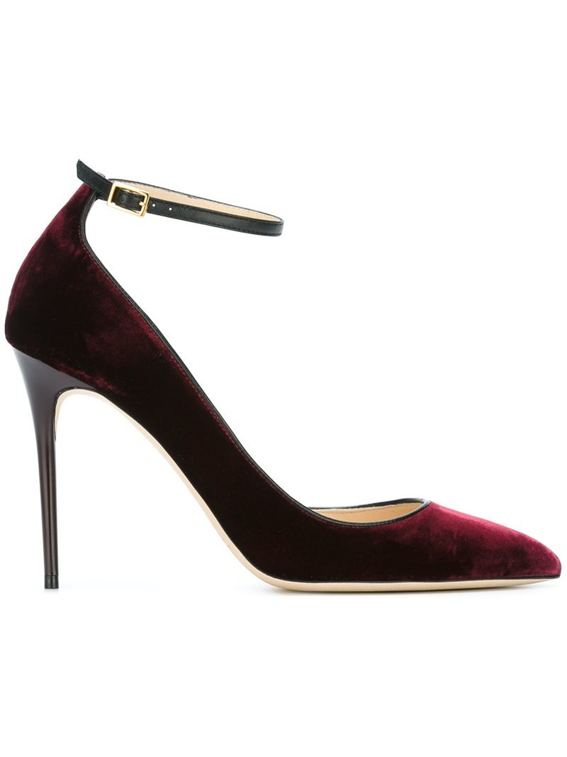'lucy 100' Pumps, Women's, Red - predominant colour: burgundy; occasions: evening, work, creative work; material: velvet; heel height: high; ankle detail: ankle strap; heel: stiletto; toe: pointed toe; style: courts; finish: plain; pattern: plain; season: s/s 2016; wardrobe: highlight