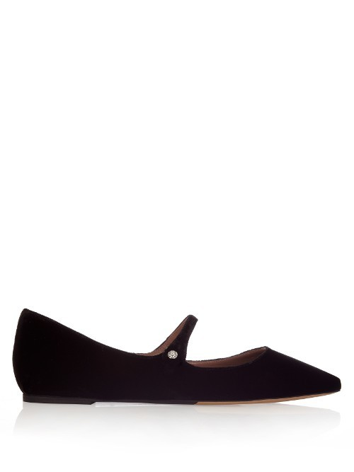 Hermione Point Toe Velvet Flats - predominant colour: black; occasions: casual, work, creative work; material: suede; heel height: flat; toe: pointed toe; style: ballerinas / pumps; finish: plain; pattern: plain; season: s/s 2016; wardrobe: basic