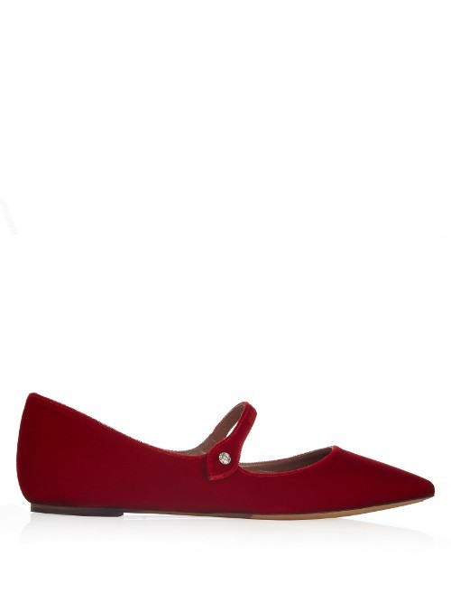 Hermione Point Toe Velvet Flats - predominant colour: true red; occasions: casual, creative work; material: suede; heel height: flat; toe: pointed toe; style: ballerinas / pumps; finish: plain; pattern: plain; season: s/s 2016; wardrobe: highlight