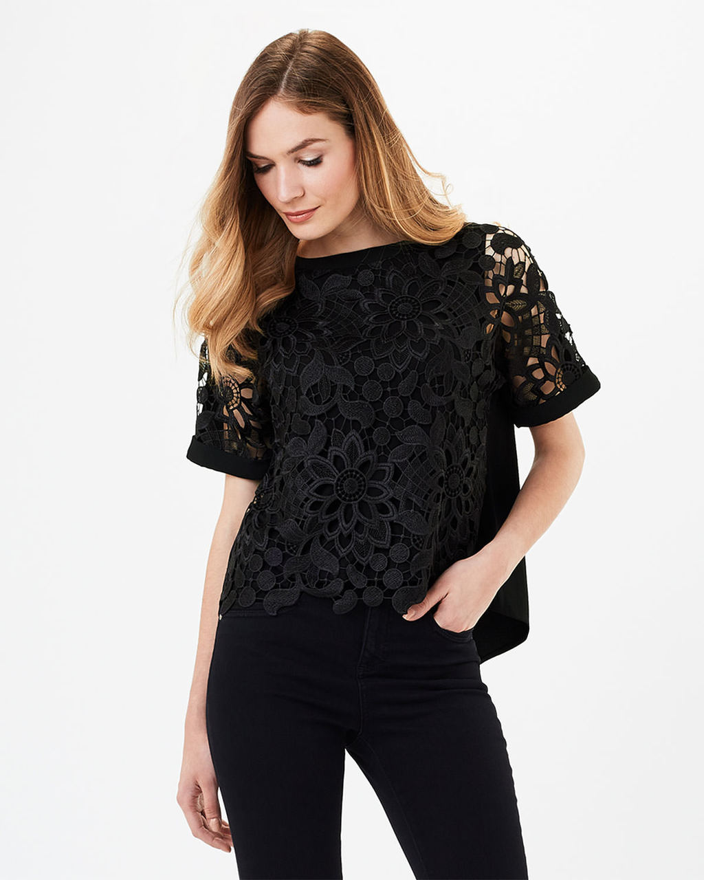 Georgie Lace Front Blouse - neckline: slash/boat neckline; pattern: plain; style: blouse; predominant colour: black; occasions: evening; length: standard; fibres: polyester/polyamide - 100%; fit: body skimming; sleeve length: short sleeve; sleeve style: standard; texture group: lace; pattern type: fabric; embellishment: lace; shoulder detail: sheer at shoulder; season: s/s 2016; wardrobe: event