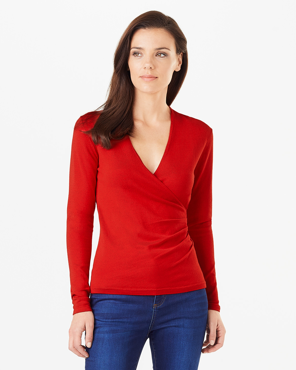 Wilma Wrap Knit - neckline: low v-neck; pattern: plain; style: wrap; predominant colour: true red; occasions: casual; length: standard; fit: slim fit; sleeve length: long sleeve; sleeve style: standard; texture group: knits/crochet; pattern type: fabric; fibres: viscose/rayon - mix; season: s/s 2016