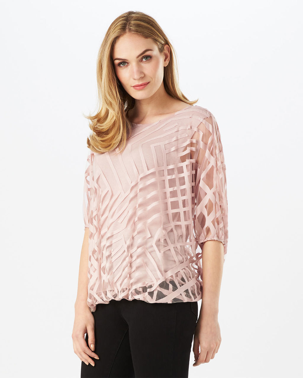 Eve Geo Burnout Top - neckline: round neck; pattern: plain; predominant colour: blush; occasions: evening; length: standard; style: top; fit: body skimming; sleeve length: 3/4 length; sleeve style: standard; texture group: lace; pattern type: fabric; fibres: viscose/rayon - mix; embellishment: lace; season: s/s 2016; wardrobe: event