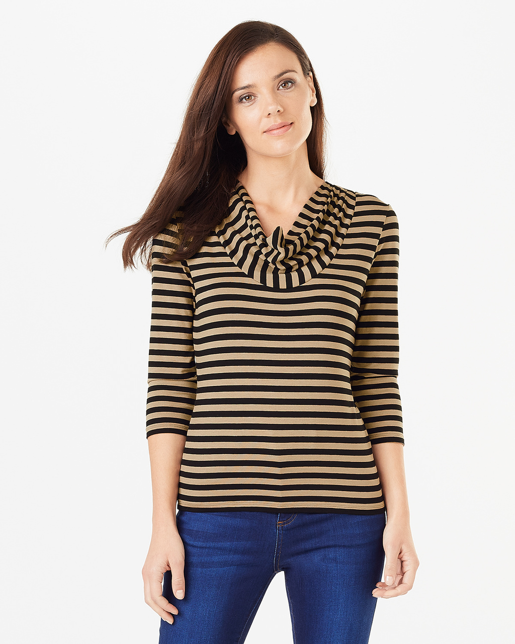 Carrie Stripe Top - neckline: cowl/draped neck; pattern: horizontal stripes; style: t-shirt; secondary colour: camel; predominant colour: black; occasions: casual, creative work; length: standard; fibres: polyester/polyamide - stretch; fit: body skimming; sleeve length: 3/4 length; sleeve style: standard; texture group: jersey - clingy; pattern type: fabric; pattern size: standard; season: s/s 2016; wardrobe: basic