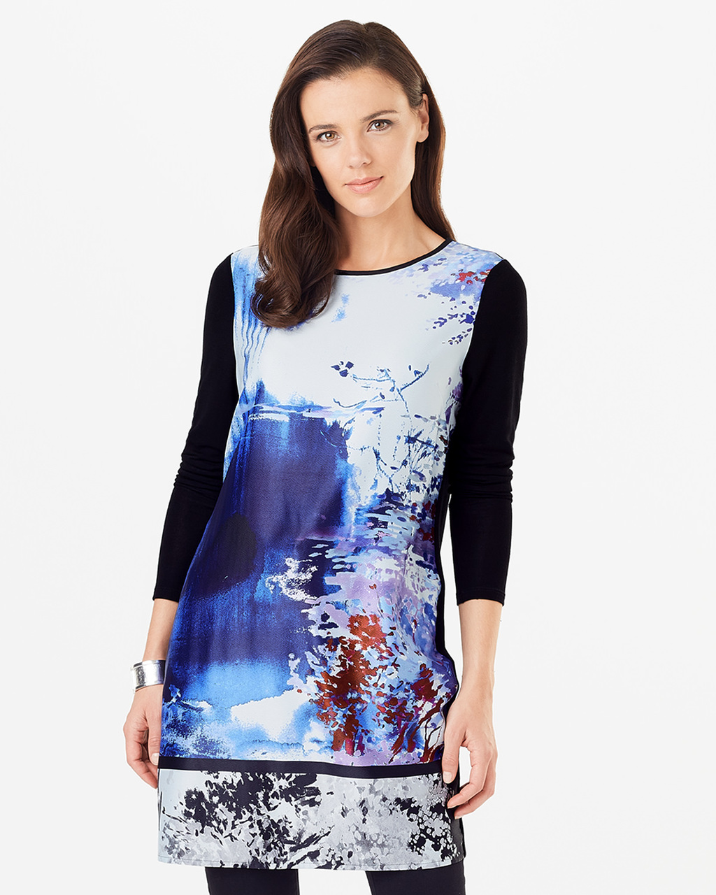 Tamsin Tunic - length: below the bottom; style: tunic; secondary colour: royal blue; predominant colour: turquoise; occasions: casual; fibres: polyester/polyamide - 100%; fit: body skimming; neckline: crew; sleeve length: 3/4 length; sleeve style: standard; pattern type: fabric; pattern: florals; texture group: woven light midweight; pattern size: big & busy (top); multicoloured: multicoloured; season: s/s 2016; wardrobe: highlight