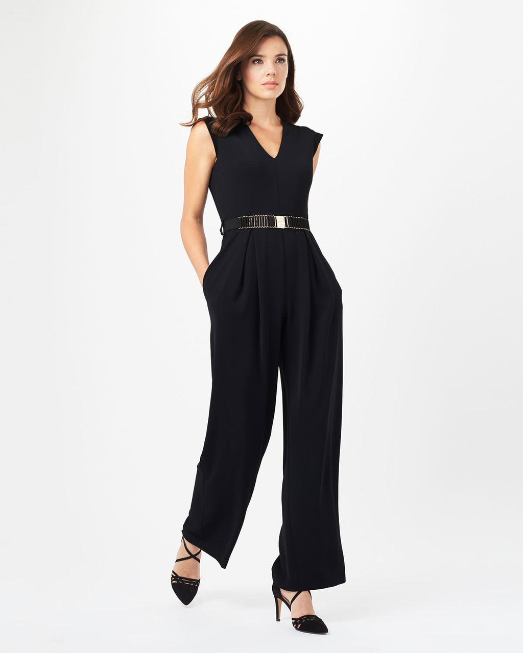 Adelaide Belted Jumpsuit - length: standard; neckline: low v-neck; fit: fitted at waist; pattern: plain; sleeve style: sleeveless; waist detail: belted waist/tie at waist/drawstring; predominant colour: black; occasions: evening, occasion; fibres: polyester/polyamide - 100%; sleeve length: sleeveless; texture group: crepes; style: jumpsuit; pattern type: fabric; season: s/s 2016; wardrobe: event