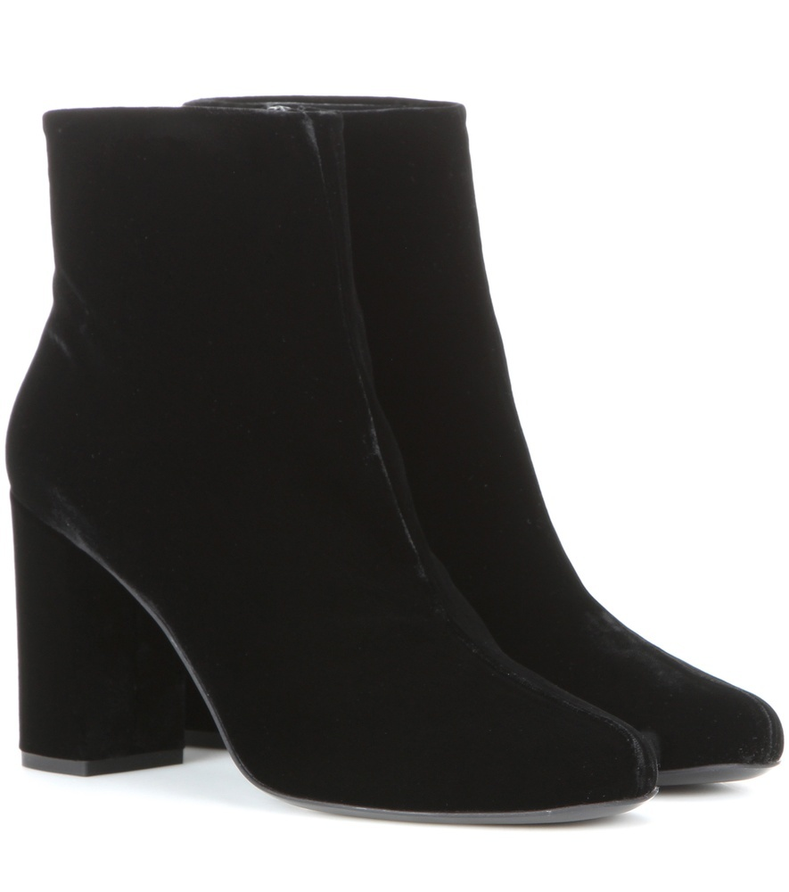 Babies 90 Velvet Ankle Boots - predominant colour: black; occasions: casual, creative work; material: leather; heel height: mid; heel: block; toe: round toe; boot length: ankle boot; style: standard; finish: plain; pattern: plain; season: s/s 2016; wardrobe: basic