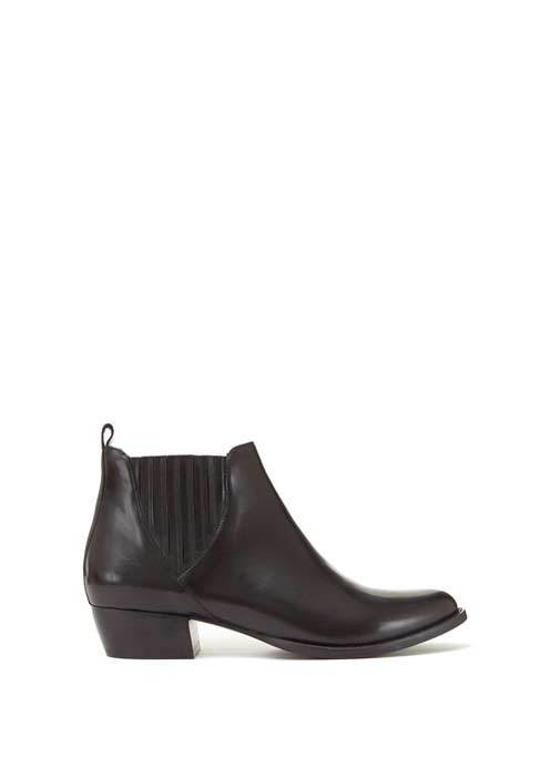 Black Jenny Leather Chelsea Boots - predominant colour: black; occasions: casual, creative work; material: leather; heel height: mid; heel: block; toe: pointed toe; boot length: ankle boot; finish: plain; pattern: plain; style: chelsea; season: s/s 2016; wardrobe: basic