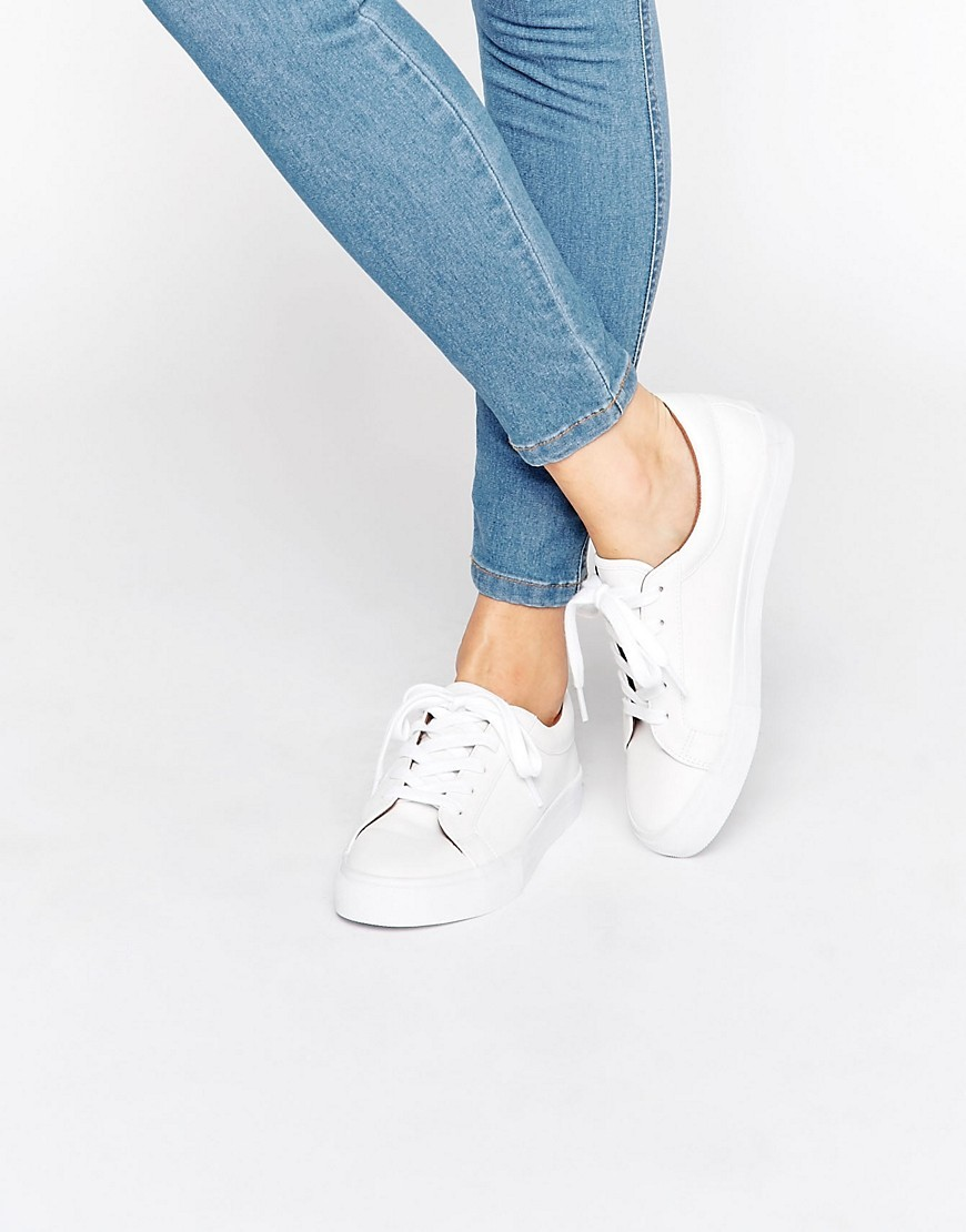 Diaz Lace Up Trainers White - predominant colour: white; occasions: casual; material: fabric; heel height: flat; toe: round toe; style: trainers; finish: plain; pattern: plain; season: s/s 2016; wardrobe: basic