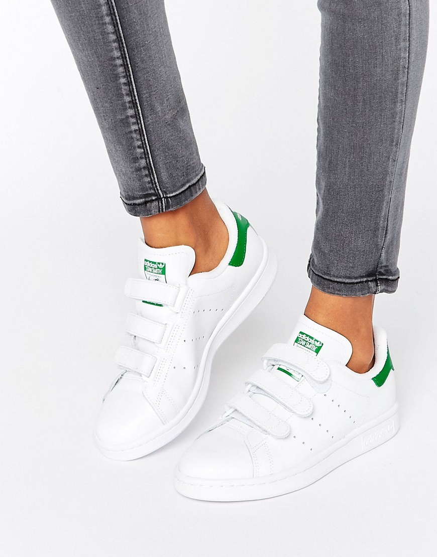 Originals White And Green Velcro Stan Smith Unisex Trainers White - predominant colour: white; occasions: casual; material: leather; heel height: flat; toe: round toe; style: trainers; finish: plain; pattern: plain; season: s/s 2016; wardrobe: basic