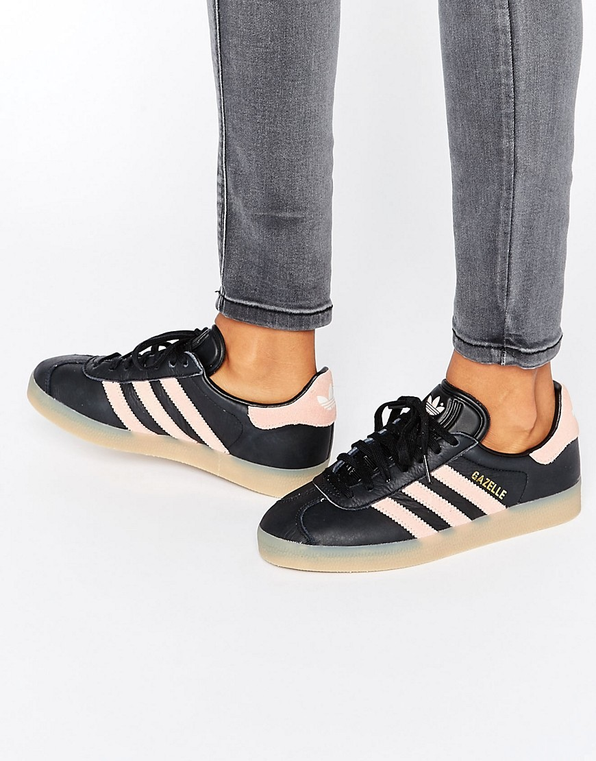 Originals Black And Pink Gazelle Trainers With Gum Sole Core Black - secondary colour: blush; predominant colour: black; occasions: casual; material: leather; heel height: flat; toe: round toe; style: trainers; finish: plain; pattern: plain; season: s/s 2016; wardrobe: basic