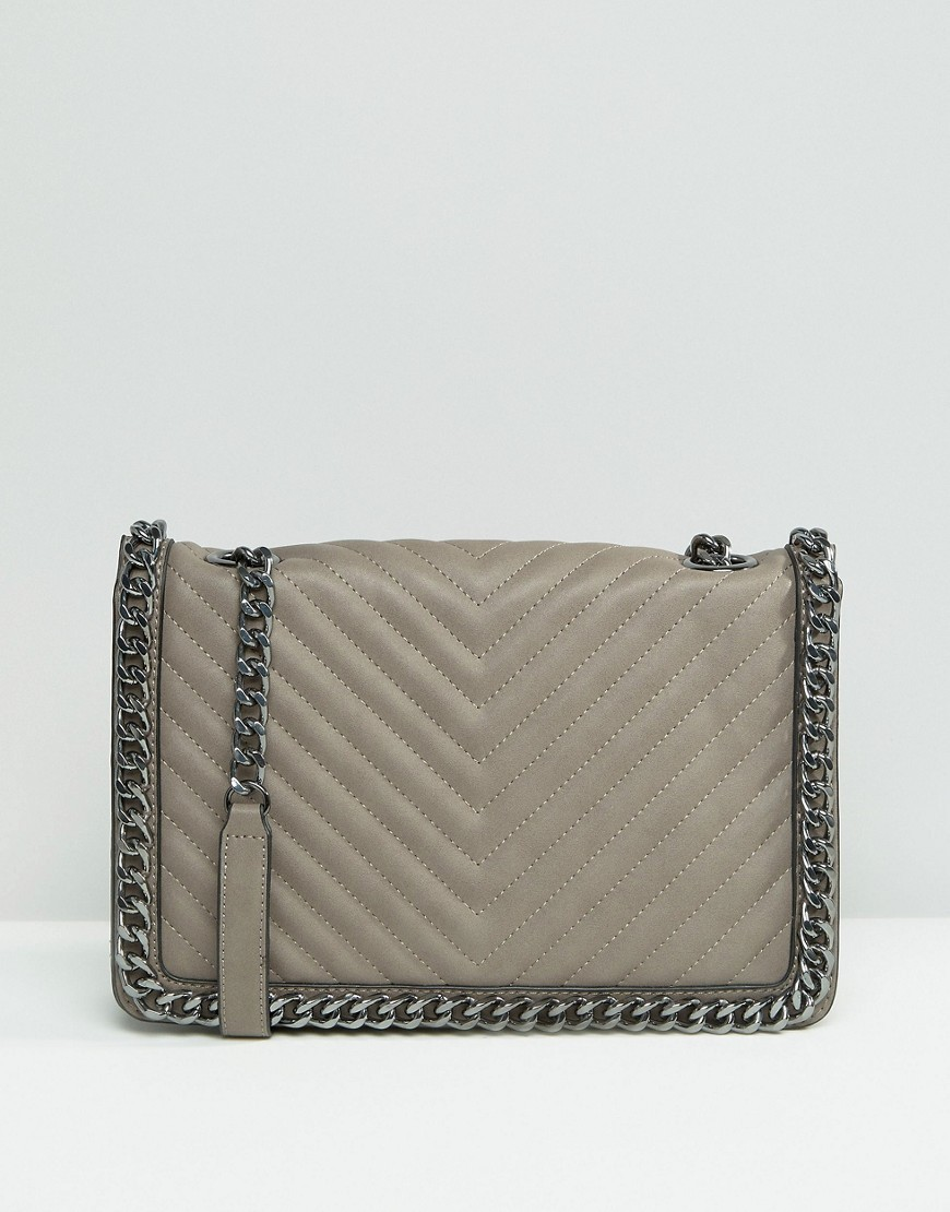 Structured Cross Body Bag With Chain Detail Grey - predominant colour: mid grey; occasions: casual, creative work; type of pattern: standard; style: messenger; length: across body/long; size: standard; material: faux leather; pattern: plain; finish: plain; season: s/s 2016; wardrobe: basic