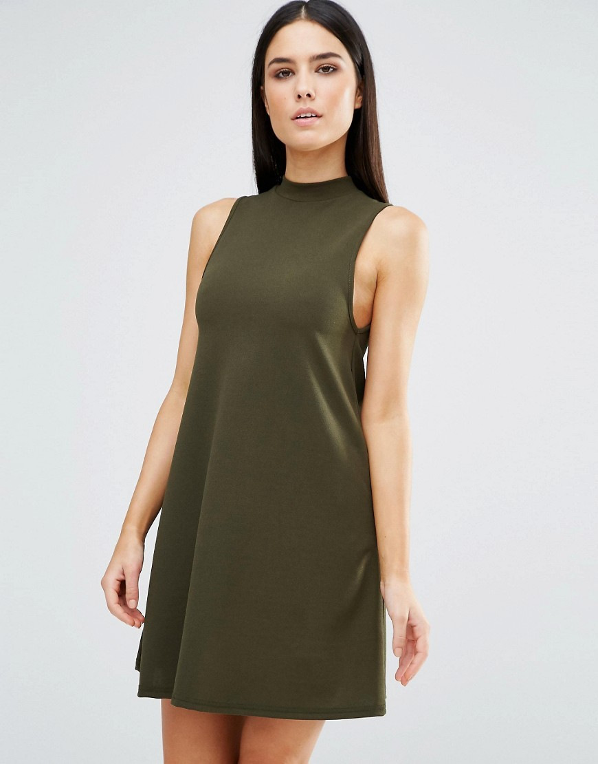 High Neck Swing Dress Khaki - style: trapeze; fit: loose; pattern: plain; sleeve style: sleeveless; predominant colour: khaki; occasions: casual; length: just above the knee; neckline: scoop; fibres: polyester/polyamide - stretch; sleeve length: sleeveless; pattern type: fabric; texture group: jersey - stretchy/drapey; season: s/s 2016; wardrobe: basic