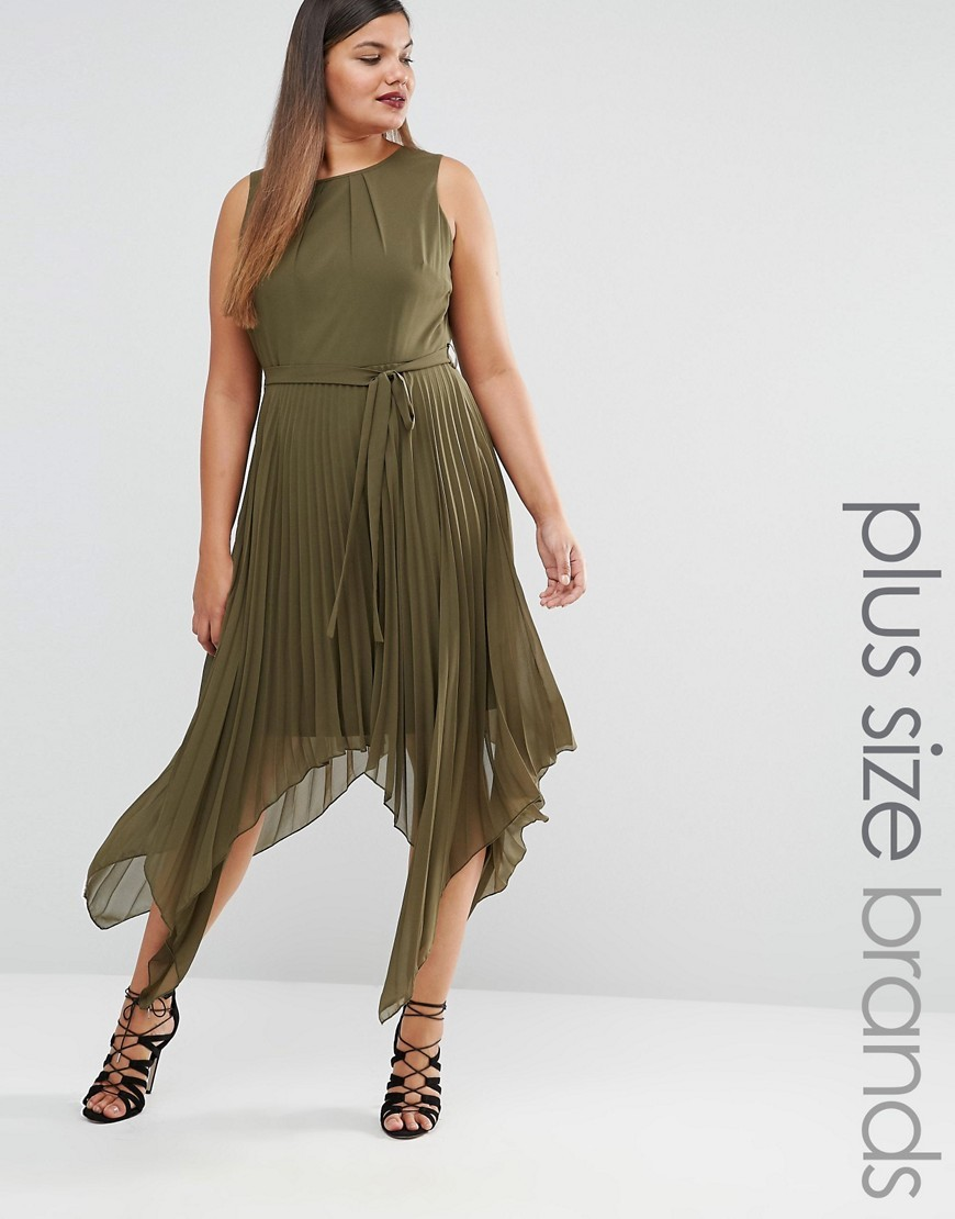 Pleated Sleeveless Midi Dress With Asymetric Hem Green - length: calf length; pattern: plain; sleeve style: sleeveless; waist detail: belted waist/tie at waist/drawstring; predominant colour: khaki; occasions: evening; fit: fitted at waist & bust; style: asymmetric (hem); fibres: polyester/polyamide - 100%; neckline: crew; sleeve length: sleeveless; pattern type: fabric; texture group: other - light to midweight; season: s/s 2016; wardrobe: event