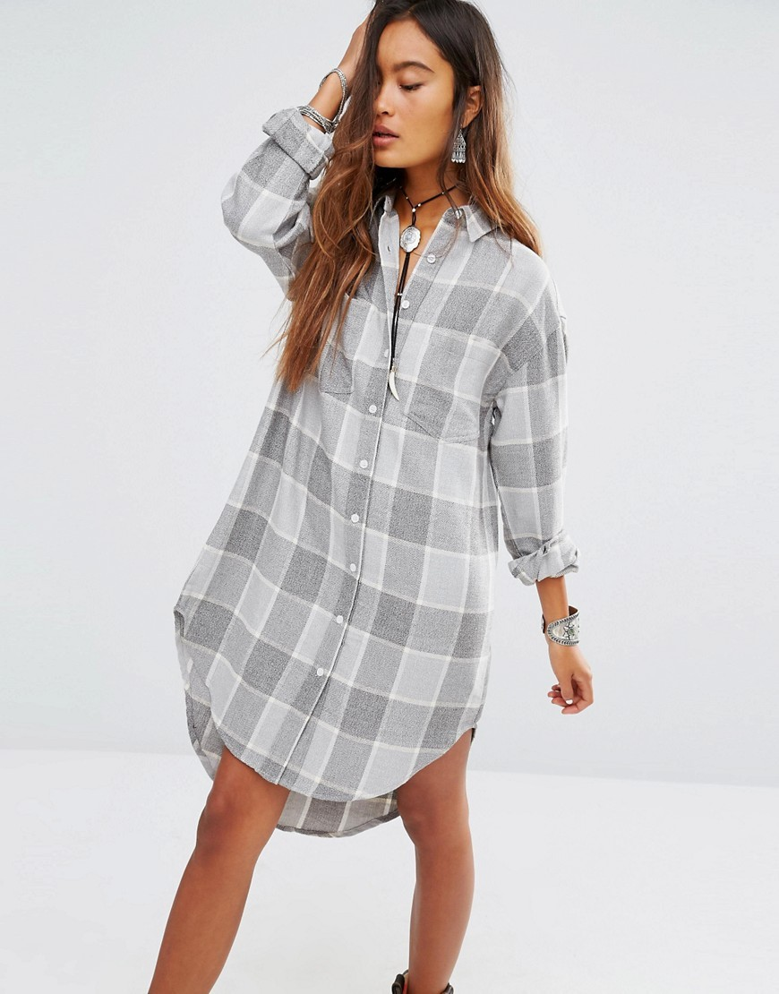 Shirt Dress In Soft Check Grey - style: shirt; neckline: shirt collar/peter pan/zip with opening; fit: loose; pattern: checked/gingham; secondary colour: charcoal; predominant colour: light grey; occasions: casual; length: on the knee; fibres: cotton - 100%; sleeve length: 3/4 length; sleeve style: standard; texture group: cotton feel fabrics; pattern type: fabric; pattern size: standard; season: s/s 2016
