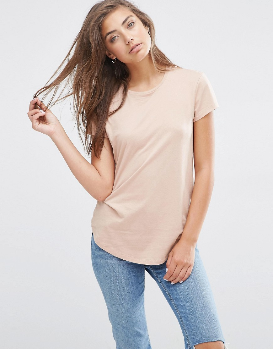 The Ultimate Crew Neck T Shirt Nude - sleeve style: capped; pattern: plain; style: t-shirt; predominant colour: nude; occasions: casual; length: standard; fibres: cotton - stretch; fit: body skimming; neckline: crew; sleeve length: short sleeve; pattern type: fabric; texture group: jersey - stretchy/drapey; season: s/s 2016