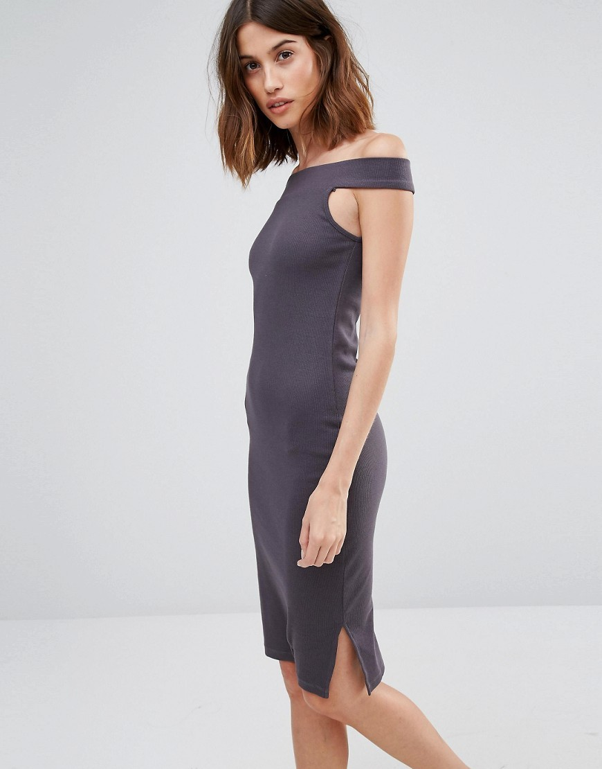 Jersey Bardot Pencil Dress Grey - neckline: off the shoulder; sleeve style: capped; fit: tight; pattern: plain; style: bodycon; predominant colour: charcoal; occasions: evening; length: on the knee; fibres: cotton - stretch; sleeve length: short sleeve; texture group: jersey - clingy; pattern type: fabric; season: s/s 2016; wardrobe: event