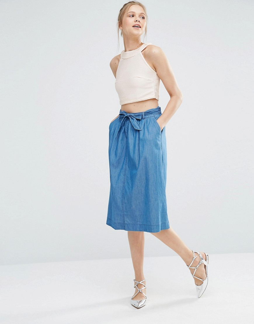 Chambray Belted Midi Skirt Denim - length: below the knee; pattern: plain; style: straight; waist detail: belted waist/tie at waist/drawstring; waist: mid/regular rise; predominant colour: denim; occasions: casual; fibres: cotton - 100%; texture group: denim; fit: straight cut; pattern type: fabric; season: s/s 2016; wardrobe: basic