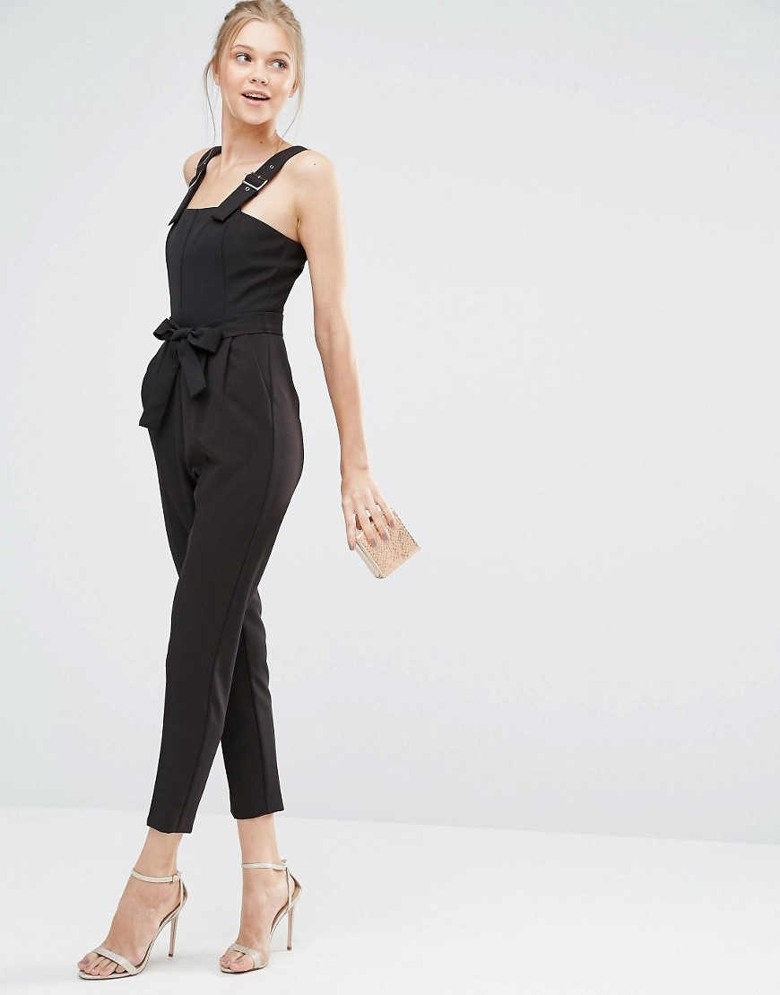 Tailored Belted Jumpsuit Black - sleeve style: standard vest straps/shoulder straps; fit: tailored/fitted; pattern: plain; waist detail: belted waist/tie at waist/drawstring; predominant colour: black; occasions: evening; length: ankle length; fibres: polyester/polyamide - stretch; sleeve length: sleeveless; texture group: crepes; style: jumpsuit; neckline: low square neck; pattern type: fabric; season: s/s 2016; wardrobe: event