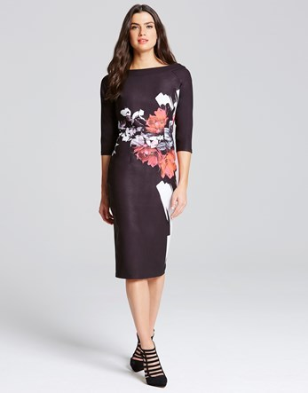 Rose Print Bodycon Dress - length: below the knee; neckline: slash/boat neckline; fit: tight; style: bodycon; secondary colour: pink; predominant colour: black; occasions: evening; fibres: polyester/polyamide - stretch; sleeve length: 3/4 length; sleeve style: standard; texture group: jersey - clingy; pattern type: fabric; pattern size: big & busy; pattern: florals; multicoloured: multicoloured; season: s/s 2016; wardrobe: event