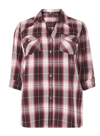 Purple Check Shirt - neckline: shirt collar/peter pan/zip with opening; pattern: checked/gingham; style: shirt; predominant colour: burgundy; secondary colour: black; occasions: casual; length: standard; fibres: cotton - 100%; fit: body skimming; sleeve length: 3/4 length; sleeve style: standard; pattern type: fabric; texture group: other - light to midweight; multicoloured: multicoloured; season: s/s 2016; wardrobe: highlight